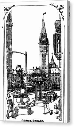 Peace Tower Parliament Hill Ottawa 1995 Canvas Print by John Cullen