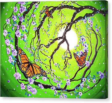 Peace Tree With Monarch Butterflies Canvas Print by Laura Iverson