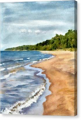 Peaceful Beach At Pier Cove Ll Canvas Print by Michelle Calkins