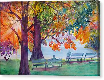 Canvas Print featuring the painting Peaceful Chat by AnnE Dentler