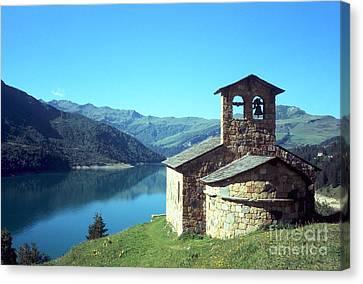 Peaceful Church And Lake  Canvas Print