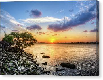 Canvas Print featuring the photograph Peaceful Evening On The Waterway by Debra and Dave Vanderlaan