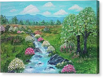 Canvas Print featuring the painting Peaceful Meadow by Sonya Nancy Capling-Bacle
