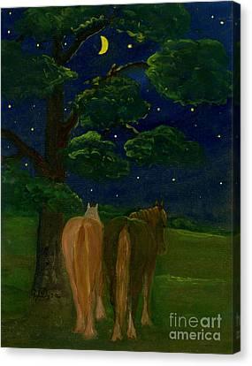 Polish Folk Art Canvas Print - Peaceful Night by Anna Folkartanna Maciejewska-Dyba