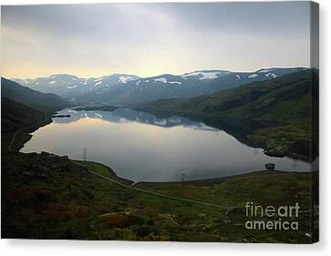 Reflection Of Sun In Clouds Canvas Print - Peaceful Norwegian Lake by Carol Groenen