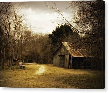 Old Country Roads Canvas Print - Peaceful Old Barn by Iris Greenwell