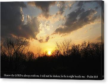 Canvas Print featuring the photograph Peaceful Sunset With Psalm 16-8 Scripture by Matt Harang