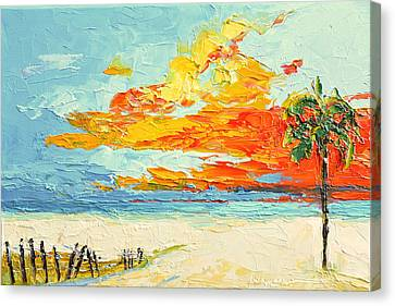 Peaceful Sunset At The Beach - Modern Impressionist Knife Palette Oil Painting Canvas Print by Patricia Awapara