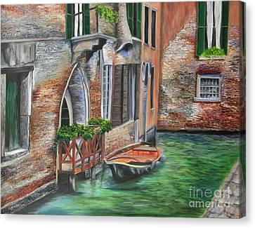 Peaceful Venice Canal Canvas Print by Charlotte Blanchard
