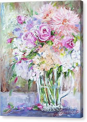 Canvas Print featuring the painting Peach And Pink Bouquet by Jennifer Beaudet