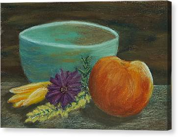 Peach And Pottery Canvas Print by Cheryl Albert