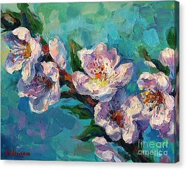 Peach Blossoms Flowers Painting Canvas Print by Svetlana Novikova