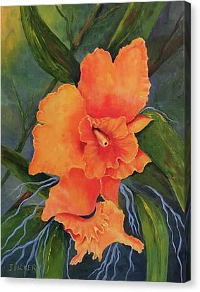 Peach  Blush Orchid Canvas Print