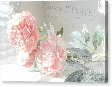 Peach Peonies Impressionistic Peony Floral Prints - French Impressionistic Peach Peony Prints Canvas Print by Kathy Fornal