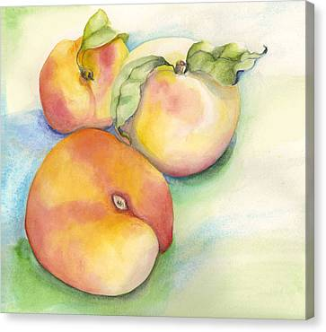 Canvas Print featuring the painting Peach Time by Nadine Dennis