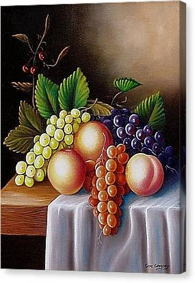 Canvas Print featuring the painting Peaches And Grapes by Gene Gregory