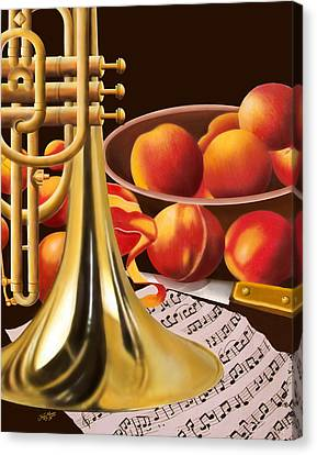 Peaches And Horn Canvas Print by James  Mingo