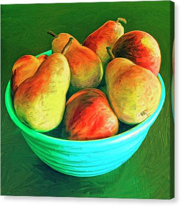 Peaches And Pears Canvas Print by Dominic Piperata