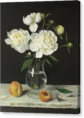 Peaches And Peonies On A Ledge Canvas Print