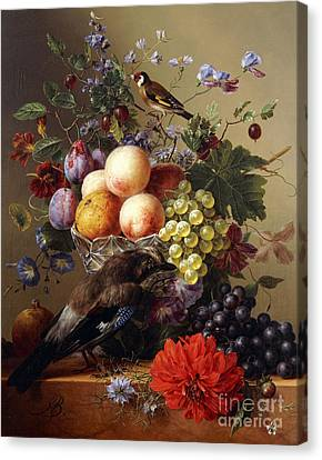 Peaches, Grapes, Plums And Flowers In A Glass Vase With A Jay On A Ledge Canvas Print by Arnoldus Bloemers