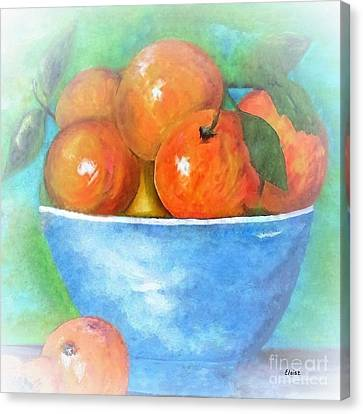 Watercolour Canvas Print - Peaches In A Blue Bowl Vignette by Eloise Schneider
