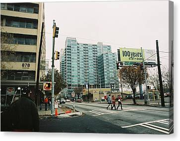 Peachtree And 7th St 2006 Winter Canvas Print by Jake Hartz