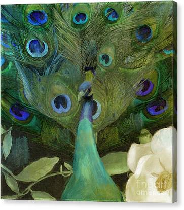Peafowl Canvas Print - Peacock And Magnolia I by Mindy Sommers