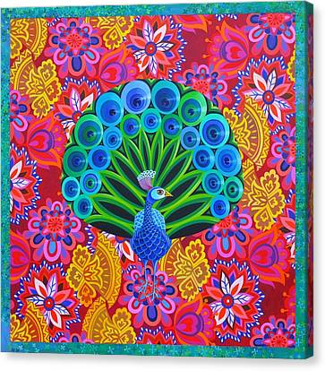 Bold Colors Canvas Print - Peacock And Pattern by Jane Tattersfield