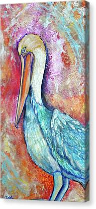 Silver Turquoise Canvas Print - Peacock Envy by Debi Starr