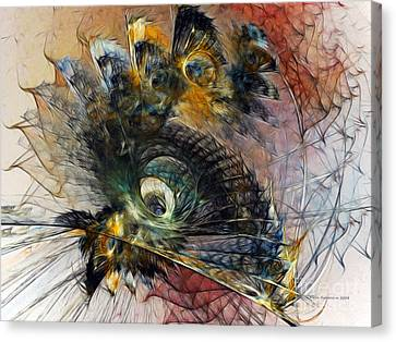 Abstract Expressionism Canvas Print - Peacock Fan by Karin Kuhlmann