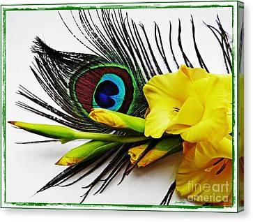 Peacock Feather And Gladiola 4 Canvas Print