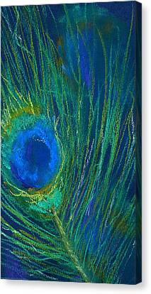 Canvas Print featuring the pastel Peacock Feather by Marilyn Barton
