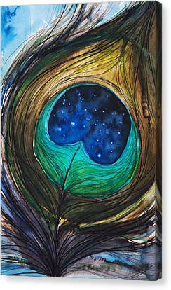 Peacock Feather Canvas Print by Tara Thelen