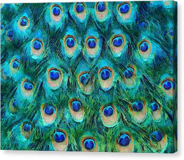 Repeat Canvas Print - Peacock Feathers by Nikki Marie Smith