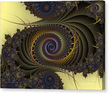 Canvas Print featuring the digital art Peacock by Karin Kuhlmann