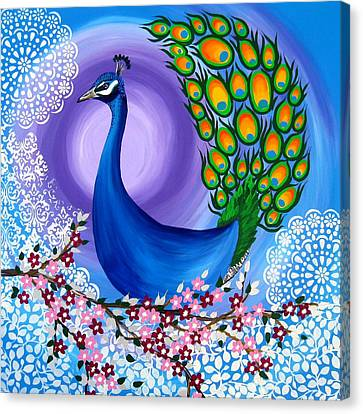 Peacock Spirit Animal Canvas Print by Cathy Jacobs