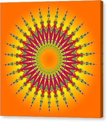 Peacock Sun Mandala Fractal Canvas Print