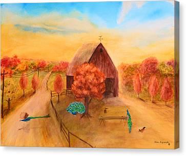 Peacock's In Autumn Canvas Print