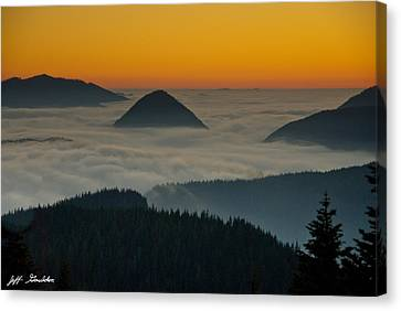 Peaks Above The Fog At Sunset Canvas Print