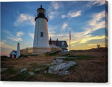 Pemaquid Point Lighthouse At Sunset Canvas Print by Rick Berk