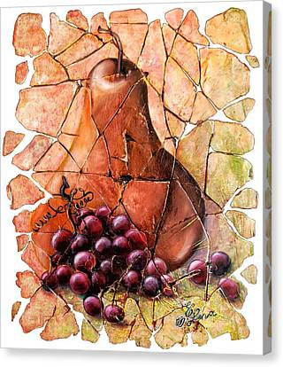 Pear And Grapes Fresco Canvas Print by Lena  Owens OLena Art
