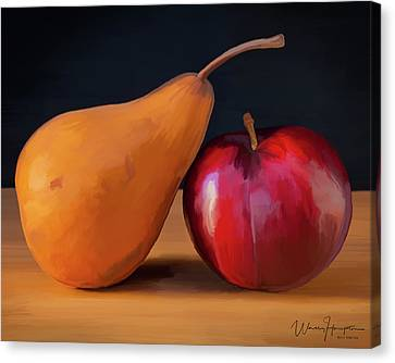 Pear And Plum 01 Canvas Print by Wally Hampton