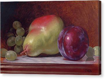 Pear And Plum Canvas Print