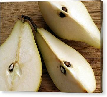 Pear Cut In Three Canvas Print
