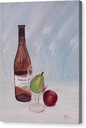 Pear In Glass Canvas Print by Tony Rodriguez