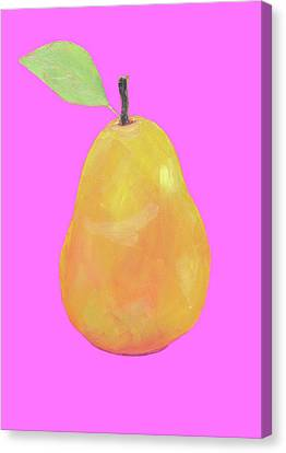 Pear Painting On Pink Background Canvas Print