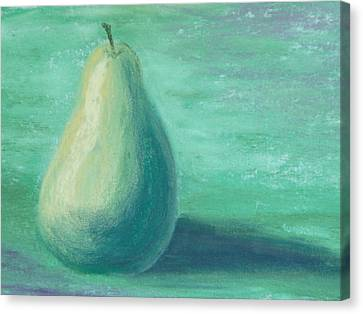 Pear Study In Ice Green Canvas Print by Cheryl Albert