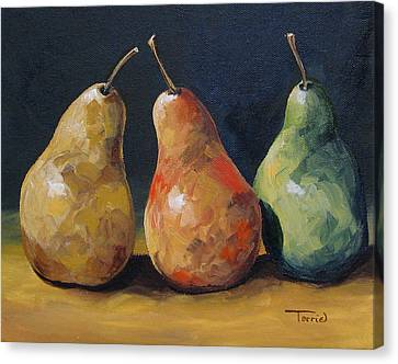 Pear Trio  Canvas Print by Torrie Smiley