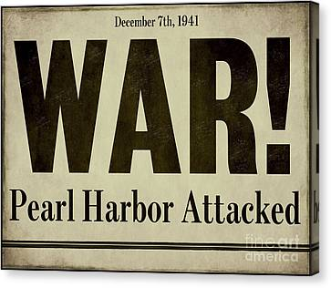 Pearl Harbor Attack Newspaper Headline Canvas Print by Mindy Sommers