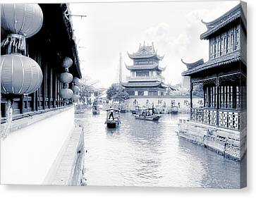 Pearl Stream River Blues - Zhujiajiao Near Shanghai Canvas Print by Christine Till